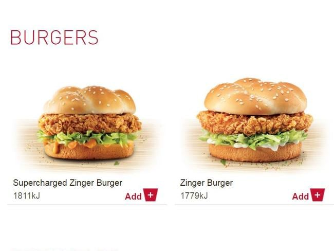 KFC lists its kilojoule content on the menu so that customers can make 'an informed decision'.