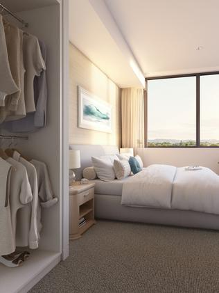 An artist's impression of a bedroom.