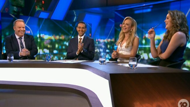 "The panel were in stitches when the announcement mentioned ""napkin folding"" as an activity to pass the time. Picture: Channel 10."