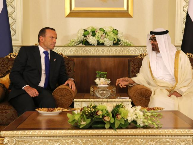 The PM and the Crown Prince at Al Mushrif Palace. Picture: Office of the Prime Minister.