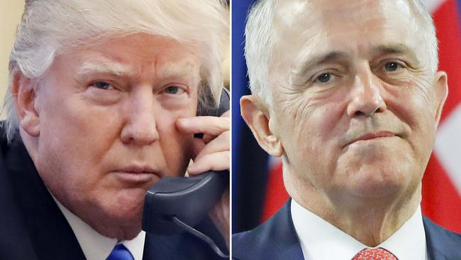 Tensions mounted between the two leaders after a phone call in which an angry Mr Trump blasted Mr Turnbull over a deal struck between the Australian Government and outgoing US president Barack Obama. Pictures: AP