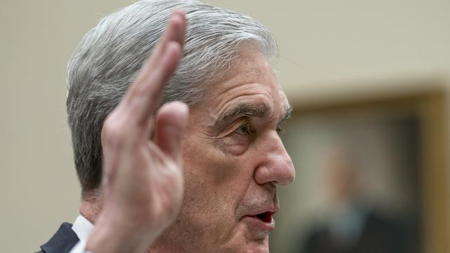 Former special counsel Robert Mueller is sworn in to testify to the House Judiciary Committee. Picture: AP Photo/J. Scott Applewhite.