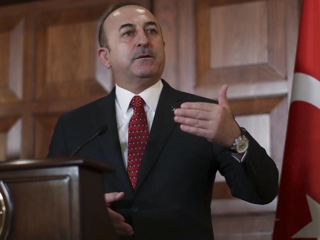 Turkey's Foreign Minister Mevlut Cavusoglu responded to Donald Trump's threat to devastate Turkey economically if it attacks US-backed Kurdish forces in Syria. Picture: AP