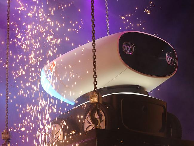 Domino's new pizza robot 'Dru' was unveiled in Brisbane last night. Picture: Marc Robertson.