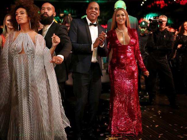 Singer Solange Knowles, Alan Ferguson, hip hop artist Jay-Z and singer Beyonce at the Grammys. Picture: Christopher Polk/Getty Images for NARAS