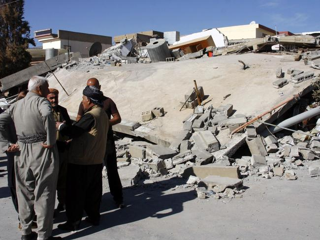 The aftermath of an earthquake in the mountainous town of Darbandikhan in Iraqi Kurdistan. Picture: AFP/Shawn Mohammed
