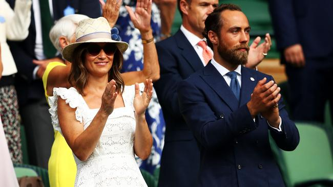 Pippa at a Wimbledon match with her brother James in July