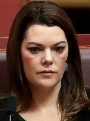 It came after Senator Sarah Hanson-Young said white supremacist posters would not be tolerated in Adelaide. Picture: Kym Smith