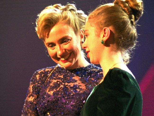 Hillary and Chelsea Clinton pictured at the Washington Convention Centre in January 1993.