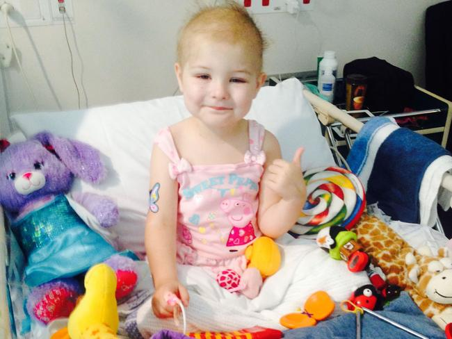 Isla during treatment for cancer.
