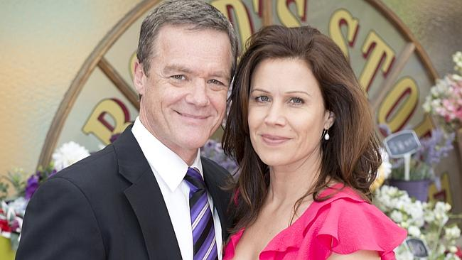 Neighbours stars ... Stefan Dennis and Jane Hall. Picture: Supplied