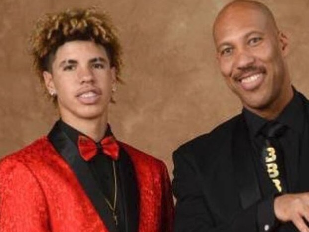 LaMelo Ball with his dad LaVar.