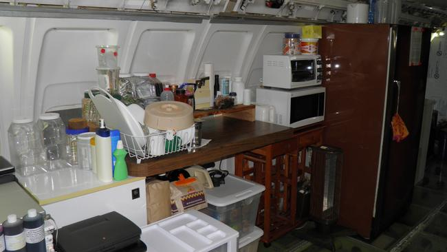 The kitchen area in the Boeing 727. Picture: From AirplaneHome.com, republished with permission.