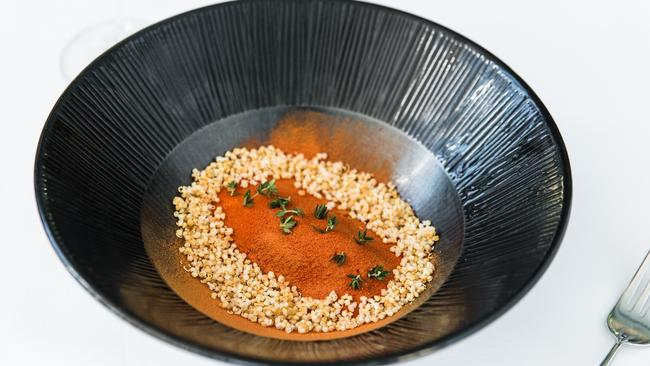 Aqua Dining's baked onion, tomato and smoked cheddar. Picture: Supplied