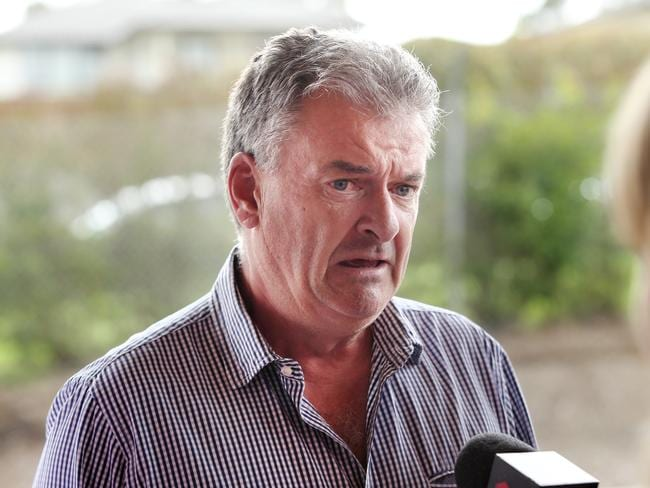 Renae's father Mark Marsden talking to the media outside court. Picture: Richard Dobson