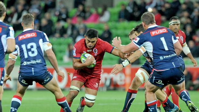 Hendrik Tui of the Reds runs with the ball at AAMI Park in Melbourne.