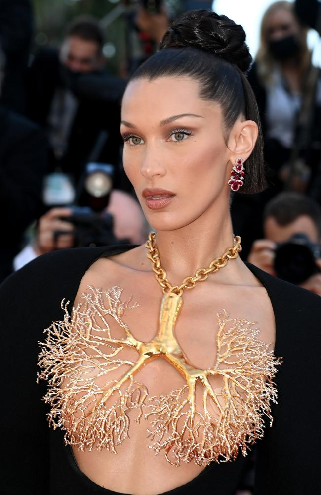 Bella Hadid arriving at Cannes on Monday. Picture: Pascal Le Segretain/Getty Images
