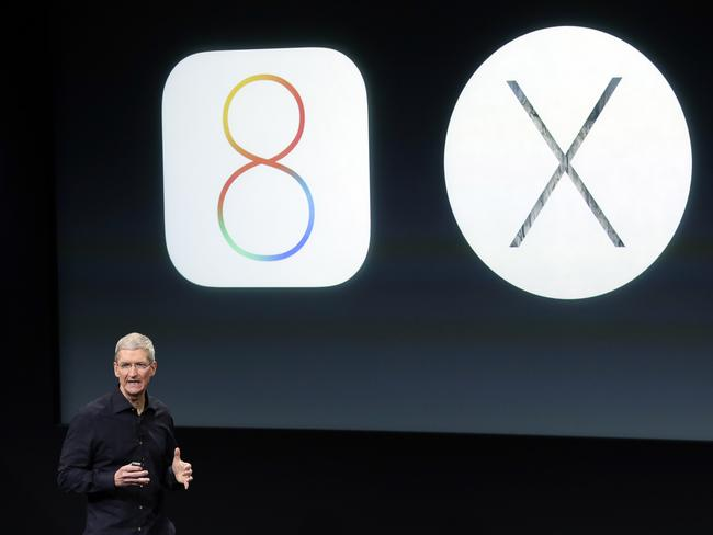New operations ... Apple CEO Tim Cook discusses the new Mac operating system, OS X Yosemite. Picture: AP Photo/Marcio Jose Sanchez