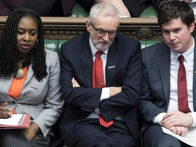 Britain's opposition Labour Party leader Jeremy Corbyn, (C), has been attacked by seven rebel MPs and accused of leading the party to the far left. Picture: UK parliament/AP