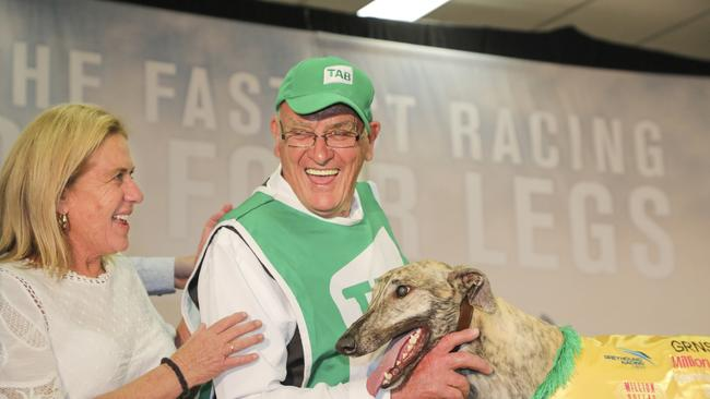 Frank Hurst with Good Odds Harada after it won the TAB Million Dollar Chase. Picture: GRNSW