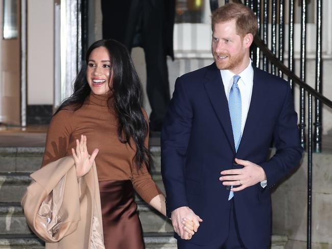 Prince Harry, Duke of Sussex and Meghan, Duchess of Sussex arrive at Canada House. Picture: Neil Mockford/GC Images