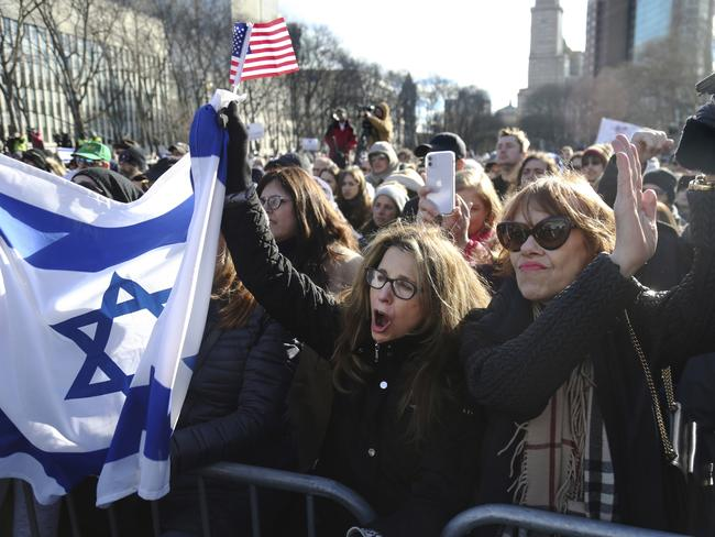 A protest for solidarity against anti-Semitism at Cadman Plaza in Brooklyn, New York. Picture: AP Photo/Jessie Wardarski