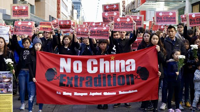 The No China Extradition protest in Rundle Mall. Picture: Mike Burton