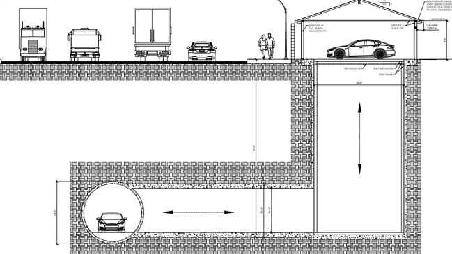 Boring Co private garage to hyperloop concept. Photo: Supplied