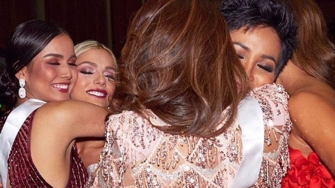 Miss USA who copped the most backlash, posted a photo herself hugging Miss Vietnam and Miss Cambodia.