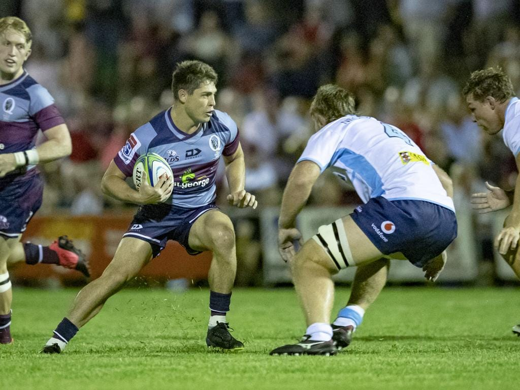 James O'Connor takes the ball to the line on Friday night. Pic: QRU/Brendan Hertel