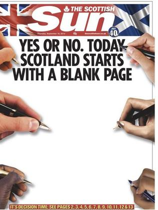 The Scottish Sun starts a fresh sheet.