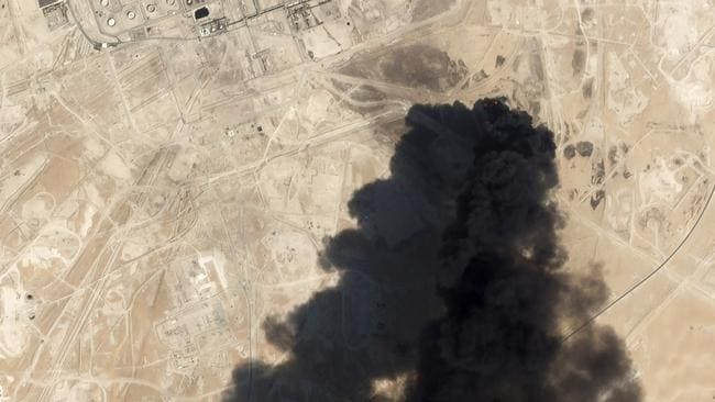 Thick black smoke rising from Saudi Aramco's Abqaiq oil processing facility in Buqayq.