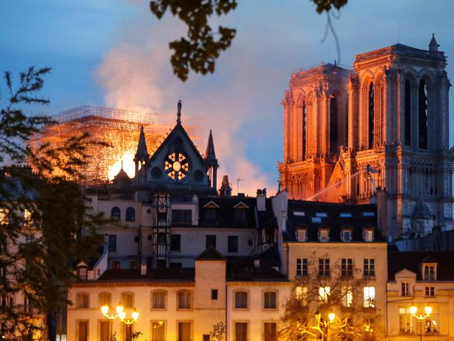 The fire burns at Notre Dame Cathedral. Picture: Francois Guillot
