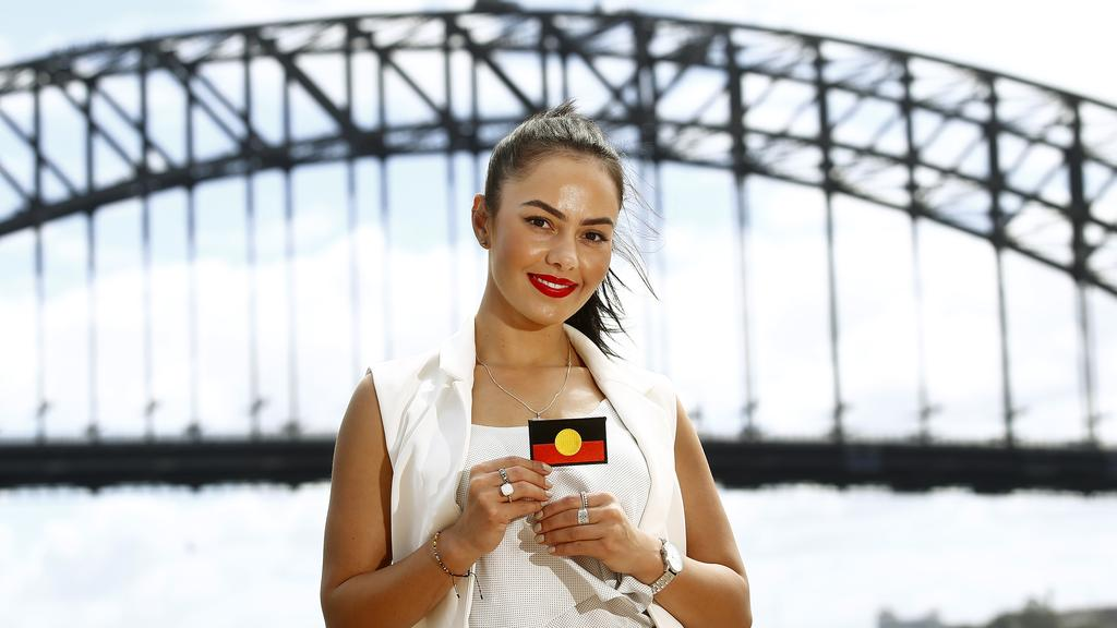Young Aboriginal woman Cheree Toka has started a petition to get an Aboriginal flag permanently placed on top on the Sydney Harbour Bridge. Picture: John Appleyard