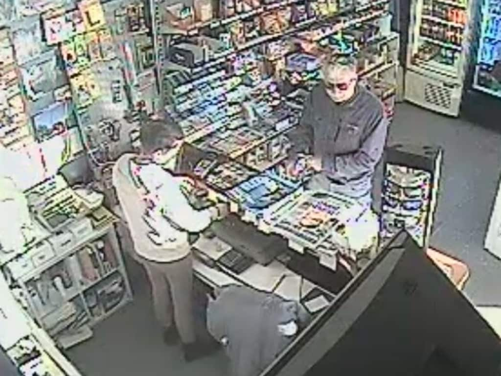 The last known sighting of Gary Ridley, 61, at the Tumbarumba Petrol Station at 6:30pm on October 27, 2019.