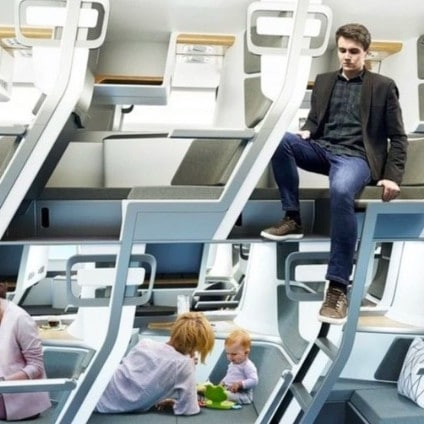 A new design by a start-up company could transform air travel by creating two tiers of seating inside the cabin. Picture: Zephyr Aerospace