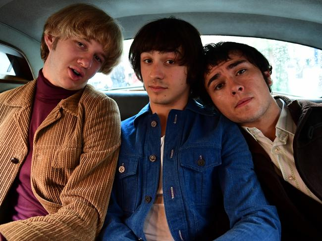 Easybeats Harry Vanda (Mackenzie Fearnley), Stevie Wright (Christian Byers) and Will Rush (George Young) in a scene from Friday On My Mind.