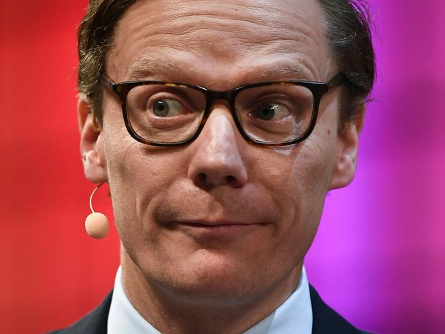 Cambridge Analytica's chief executive officer Alexander Nix suggested sending Ukrainian women to a candidates house in an online video, but said he was framed in entrapment and denied wrongdoing. Picture: AFP PHOTO / PATRICIA DE MELO MOREIRA