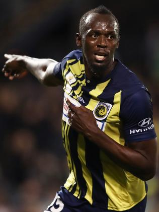 Usain Bolt celebrates scoring a goal during the pre-season friendly match between the Central Coast Mariners and Macarthur South West United. (Photo by Matt King/Getty Images)