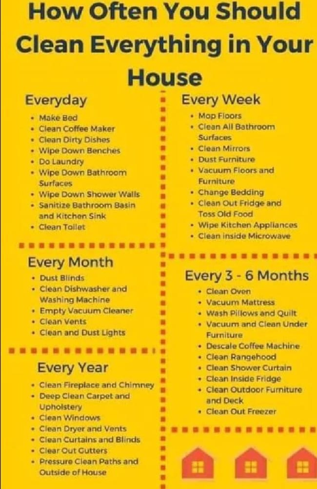 A British mum's cleaning list went viral last year, but many though the extensive schedule was 'grim'. Picture: Facebook