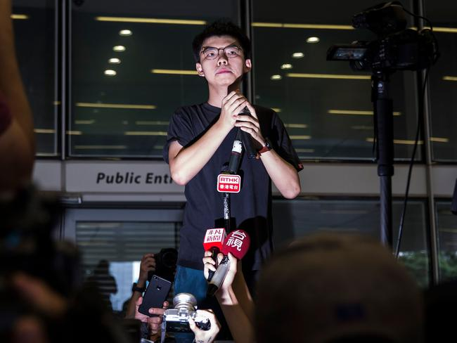 Well-known activist Joshua Wong called on the city's pro-Beijing leader Carrie Lam to resign after he walked free from prison on Monday, as historic anti-government protests rocked the city. Picture: Isaac Lawrence / AFP