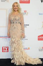 Kerri-Anne Kennerley arrives on the red carpet at the 59th annual TV Week Logie Awards on April 23, 2017 at the Crown Casino in Melbourne, Australia. Picture: AAP