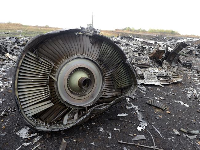 Just bits and pieces ... Part of the Malaysia Airlines Flight MH17 at the crash site in the village of Hrabove (Grabovo), 80km east of Donetsk. Picture: Alexander Khudoteply