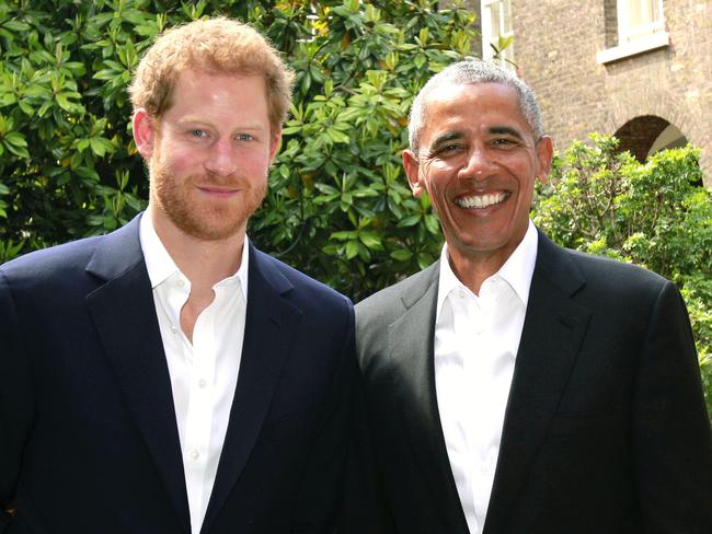 Prince Harry with former US President Barack Obama following a meeting at Kensington Palace in London on May 27, 2017. Picture: AFP