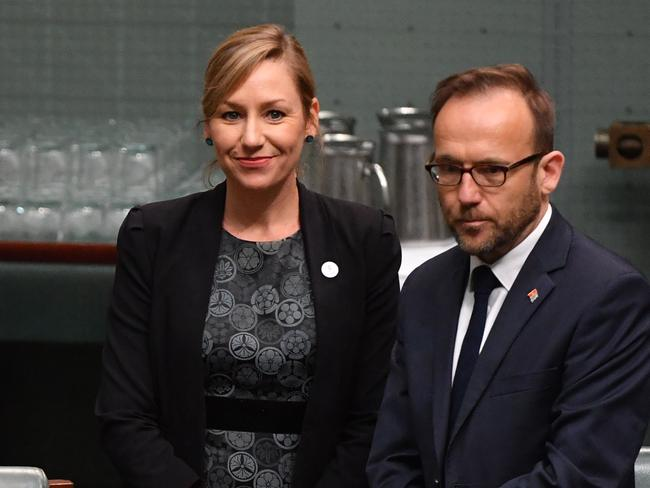 """Greens Senator Larissa Waters (L) said Senator Hanson's speech reflected the racism they had 'come to expect"""" from the One Nation party. Picture: Mick Tsikas/AAP"""