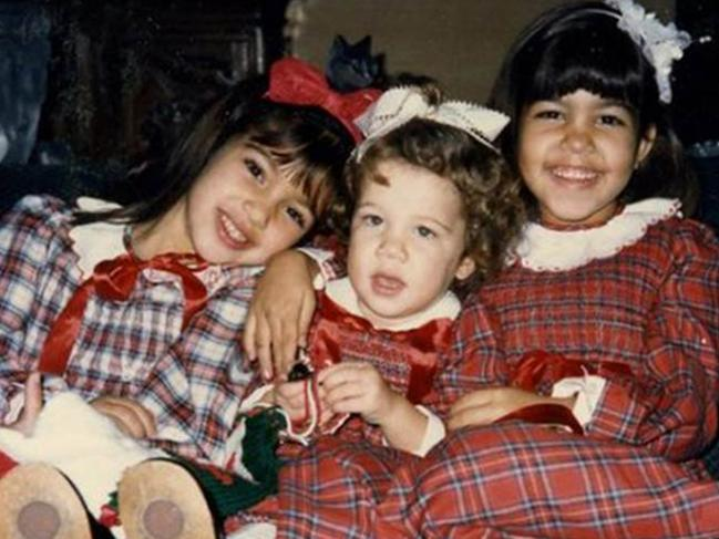 Kim, Khloe and Kourtney as children. Picture: Supplied