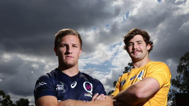 James Tuttle (Queensland Country) and Liam Gill (Brisbane City) get ready for the NRC.