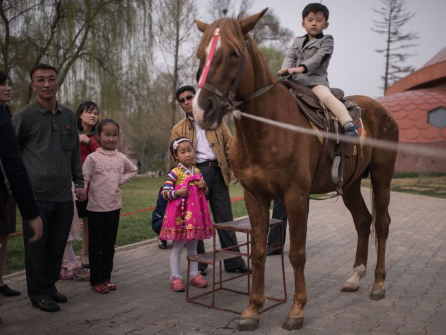 A boy poses for a photo as he sits on a horse at the Central Zoo in Pyongyang on April 16, 2017. / AFP PHOTO / Ed JONES