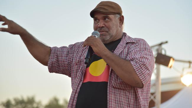 Sammy Wilson described the pressure felt by Indigenous people to keep Uluru open. 'Over the years Anangu have felt a sense of intimidation, as if someone is holding a gun to our heads to keep it open'. Picture: AAP/Lucy Hughes Jones
