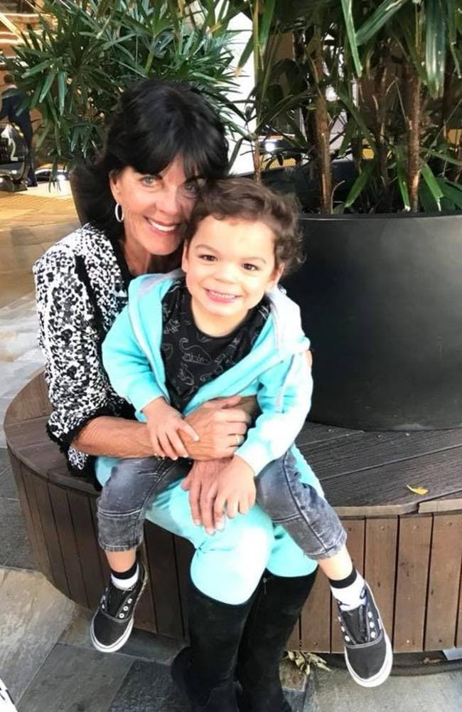 Gai Vieira with her three-year-old grandson Tyler who was not hurt in the crash which left her in a coma with a brain injury.